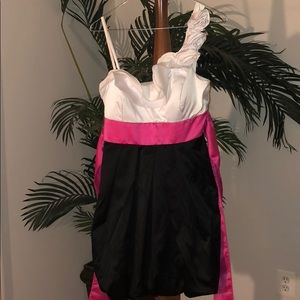 Black, white, and pink dress